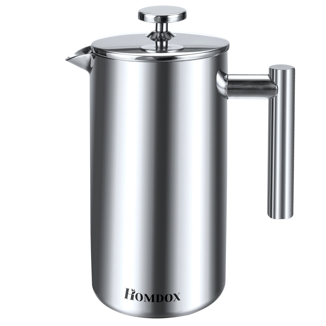 Homdox Stainless Steel Plunger Cafetiere, 8Cup (34oz)