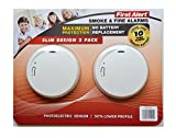 First Alert Smoke & Fire Alarm Slim Design 2 pack 10 year long-life sealed battery