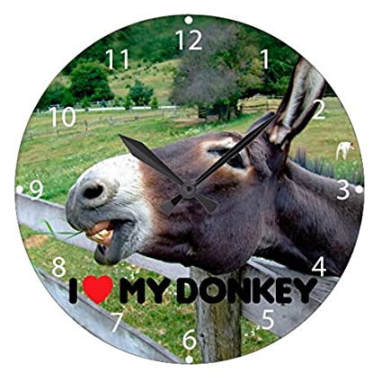 Modern Wooden Clock For Kids I Love My Donkey Funny Mule Farm Animal Non  Ticking