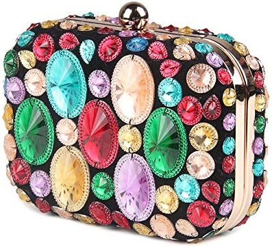 KLXEB Vintage Colorful Beaded Stones Patchwork Mujeres Bolso ...