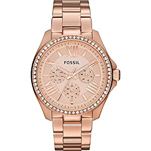 Fossil Women'S Rose Gold Dial Stainless Steel Band Watch [Am4483],
