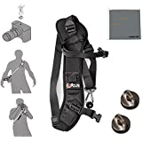 Fomito F-1 Quick Rapid Shoulder Sling Belt Neck Strap & 2pcs Screw Mount for Camera DSLR SLR DV Black