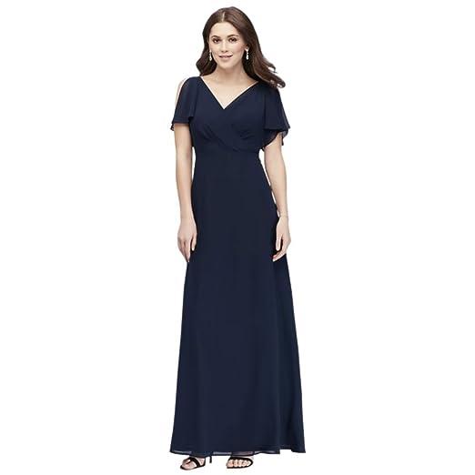 809749dbce01 Split-Sleeve Chiffon Surplice Bridesmaid Dress Style W60012, Navy, 0