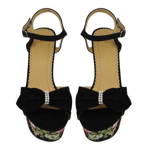 Women Casual Rhinestone Flower-Print Platform Wedge Heels Sandals Black Faux Suede