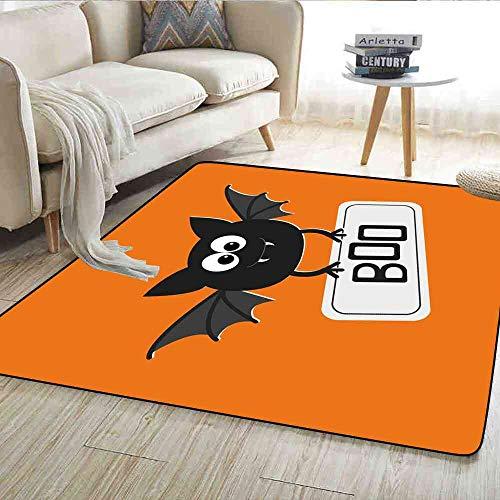 - Rugs Halloween,Cute Funny Bat with Plate Boo Fangs Scare Frighten Seasonal Cartoon Print,Orange Black White Modern Decorative Carpet 6'x7'