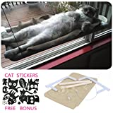 Cat Window Hammock / Perch for Sunbath, COUTUDI Comfortable Resting Sleeping Bed for Large Cat Kitty of Up to 33lb