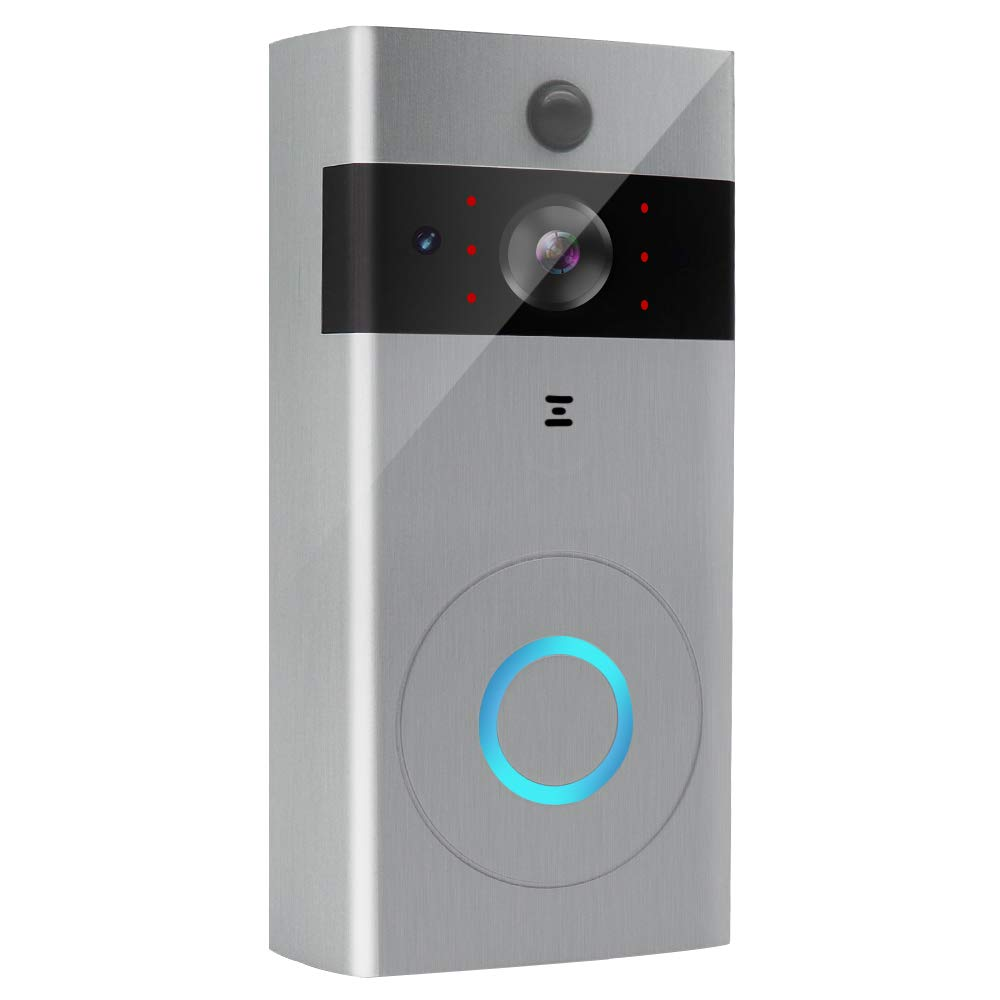 Wireless Video Doorbell WiFi Doorbell Camera Real-time 720P HD Video Two-Way Audio Smart Night Vision PIR Motion Detection App Control for iOS and Android