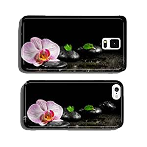 Orchid flower with mint leaves and zen stones on black backgroun cell phone cover case iPhone6