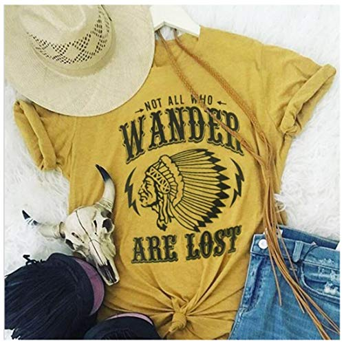 (Not All Who Wander are Lost Women Travel T Shirt Compass Graphic Baseball Tee Short Sleeve Cotton Casual Tops (L, Yellow))