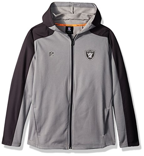 Outerstuff NFL Youth Boys Delta Full Zip Jacket-Magna Pique Heather-XL(18), Oakland Raiders