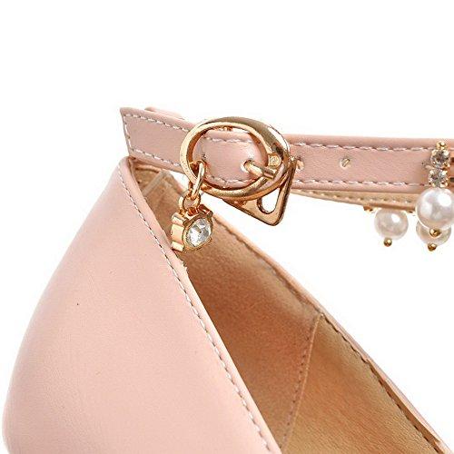 VogueZone009 Damen PU Leder Eingelegt Schnalle Rund Zehe Hoher Absatz Pumps Schuhe Pink