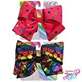 Jojo Siwa Bow for Girls Bundle, 2 Bows and 3 Pack Bracelet - White Bow with Emoji icons and Rainbow and Multi Color Rhinestones Hair Bow