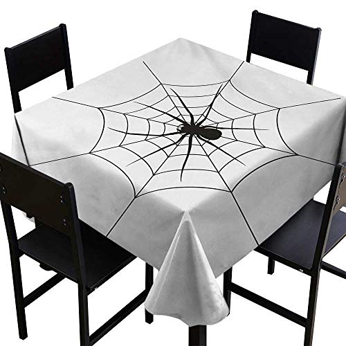 ScottDecor Spider Web Christmas Tablecloth Black Spooky Spider Weighs on a Web Creepy Crawly Organism Tangled Monochrome 50 inch Square Tablecloth Black White