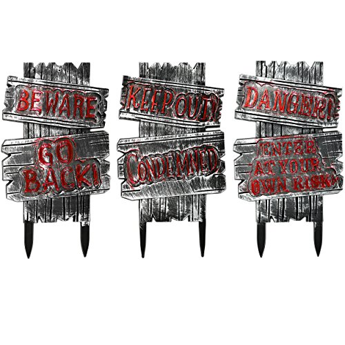 3 Pack Halloween Decorations Creepy Cemetery Decoration Haunted House Signs for Graveyard Tombstones Props Outdoor Warning Sign made of Hard Plastic, 21