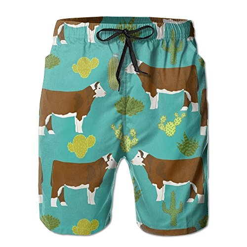 2018 pants Hereford Cow Men's Summer Boardshorts Outdoor Water Sports Shorts Quick Dry Casual Beach Shorts by 2018 pants