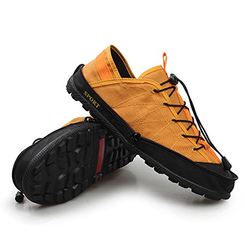 GOMNEAR Hommes Femmes Portable Pliant de Voyage en Plein Air Chaussures de Pêche Léger et Flexible de Stockage Poche de Transport Sneakers Jaune hgtie