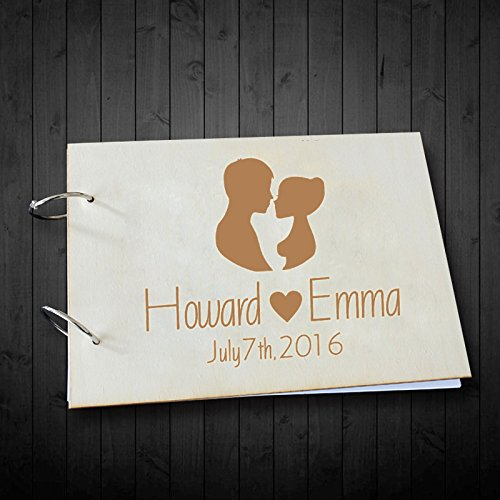 Bride and Groom Silhouette Personalized Name and Date Wedding Guest Book Scrapbook Photo Albums Book 8 x 12 inches Wedding Gifts for Couples