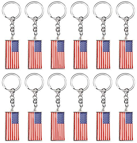 (USA Key Rings - 12-Pack American Flag Key Chains, Patriotic US Flag Key Chains, Perfect Novelty for July 4th, National Days, Election Campaign, Party Favors, Game Prize, 5 x 1.8 Inches)
