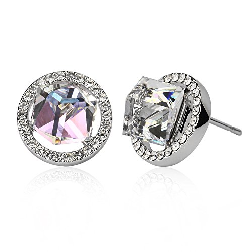 JOYEN Swarovsi@ White Gold Nature Color Change Round CZ Diamond Earrings Studs