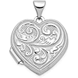 14k White Gold Scrolled Love You Always Heart Photo Pendant Charm Locket Chain Necklace That Holds Pictures Fine Jewelry For Women Gift Set