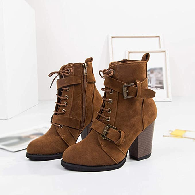 JiaMeng Botines Plataforma Bota Boots Ocasional Botas de Gamuza de Color sólido con Cordones y con Cordones Botas con Cremallera Zapatos con Punta Redonda: ...