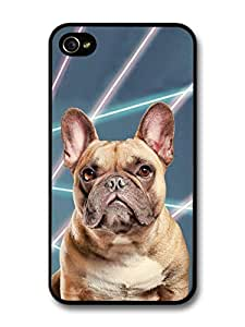 AMAF ? Accessories Cute French Bulldog With Laser Background case for iPhone 4 4S