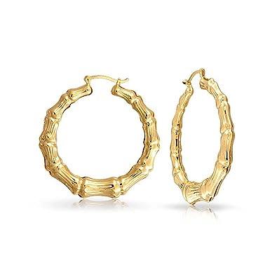 Bling Jewelry Bamboo Gold filled Hoop Earrings 1 75in Amazon