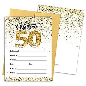 Amazon Com 50th Birthday Party Invitation Cards With Envelopes 25