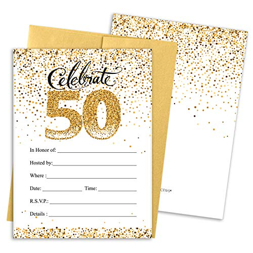 White and Gold 50th Birthday Party Invitations | 10 Cards with Envelopes