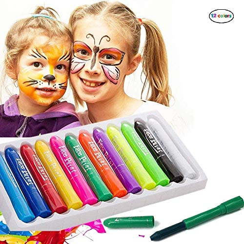 Face Paint Crayons - 12 Piece Face Painting Kits and Washable Face Paints for Kids Face Painting and Body Paint for Kids Party Games, Makeup and Professional Face Painting Kit for Adults]()