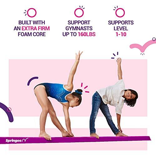Suede Folding Gymnastics Beam Pink Extra Firm Springee 10ft Balance Beam