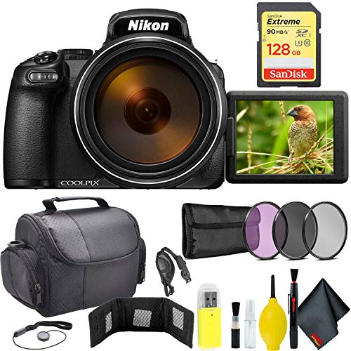 Nikon COOLPIX P1000 Digital Camera + 128GB Sandisk Extreme Memory Card Travel Kit International Model