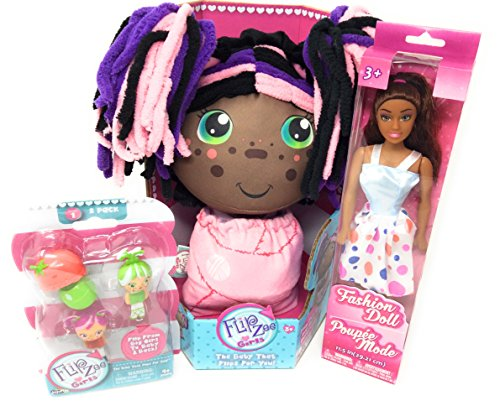 Flip Zee Girls African American Zuri Kitty Cat Sweet and Cuddly 2-in-1 Plush Doll BONUS Flipzee girls mini babies (Dolls vary) series 1 pack of Two! Zuri and 1 Fashion (Kitty Cat Costume Homemade)