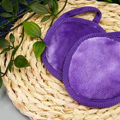 NATWAG Reusable Update Makeup Remover Cloths for Sensitive Skin - Microfiber Face Cloth Makeup Remover   Washable Round Makeup Remover Pads   Natural Facial Towels (2 Pads,1 Cloth) (Purple)