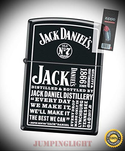 4419 Jack Daniels Tennessee Whiskey Old No 7 Lighter with Flint Pack - Premium Lighter Fluid (Comes Unfilled) - Made in USA!