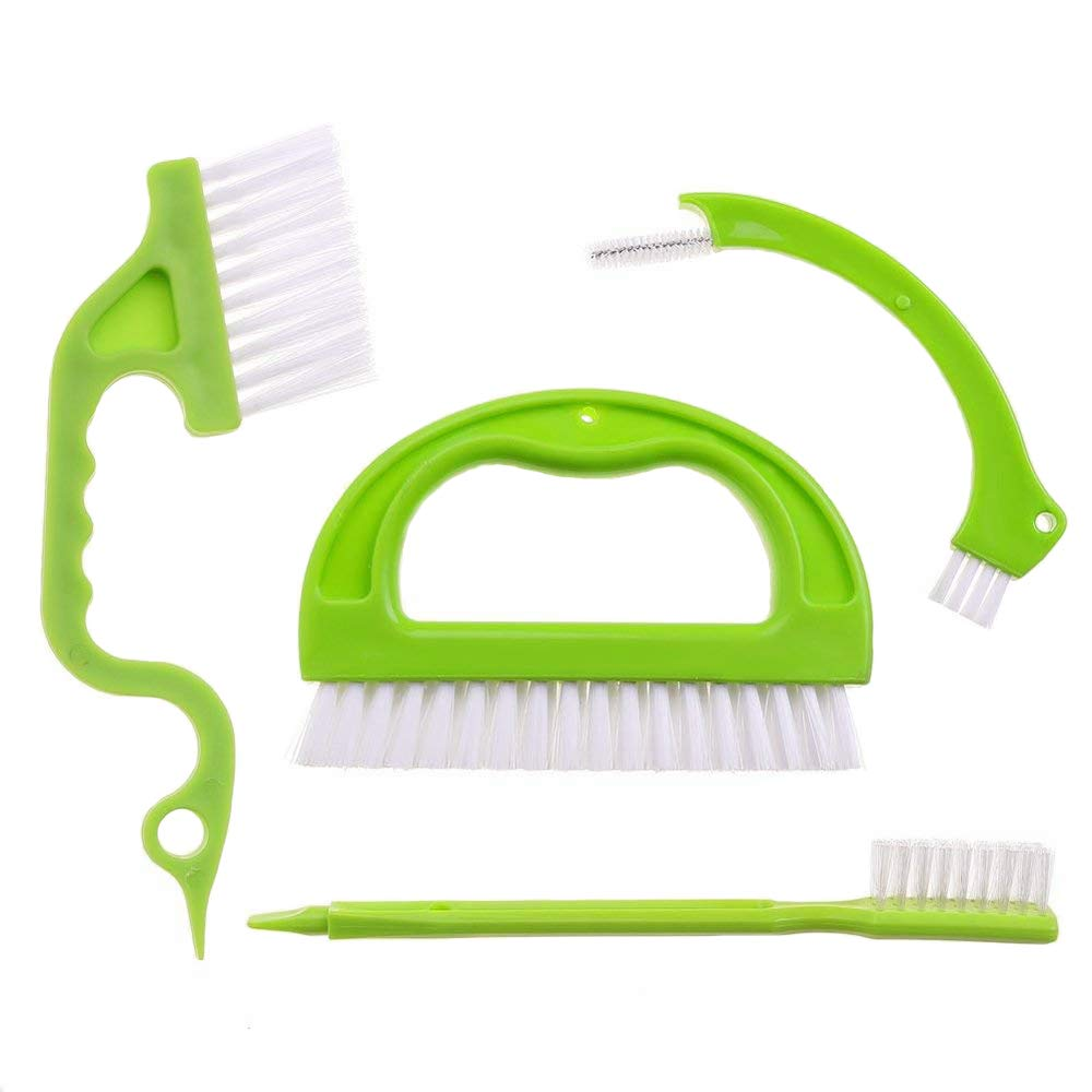 Cleaning Brush Scrubber Set, 4 in 1 Scrubber Multifunction Household Brush Grout Brush for Kitchen & Bathroom Mrrainbow