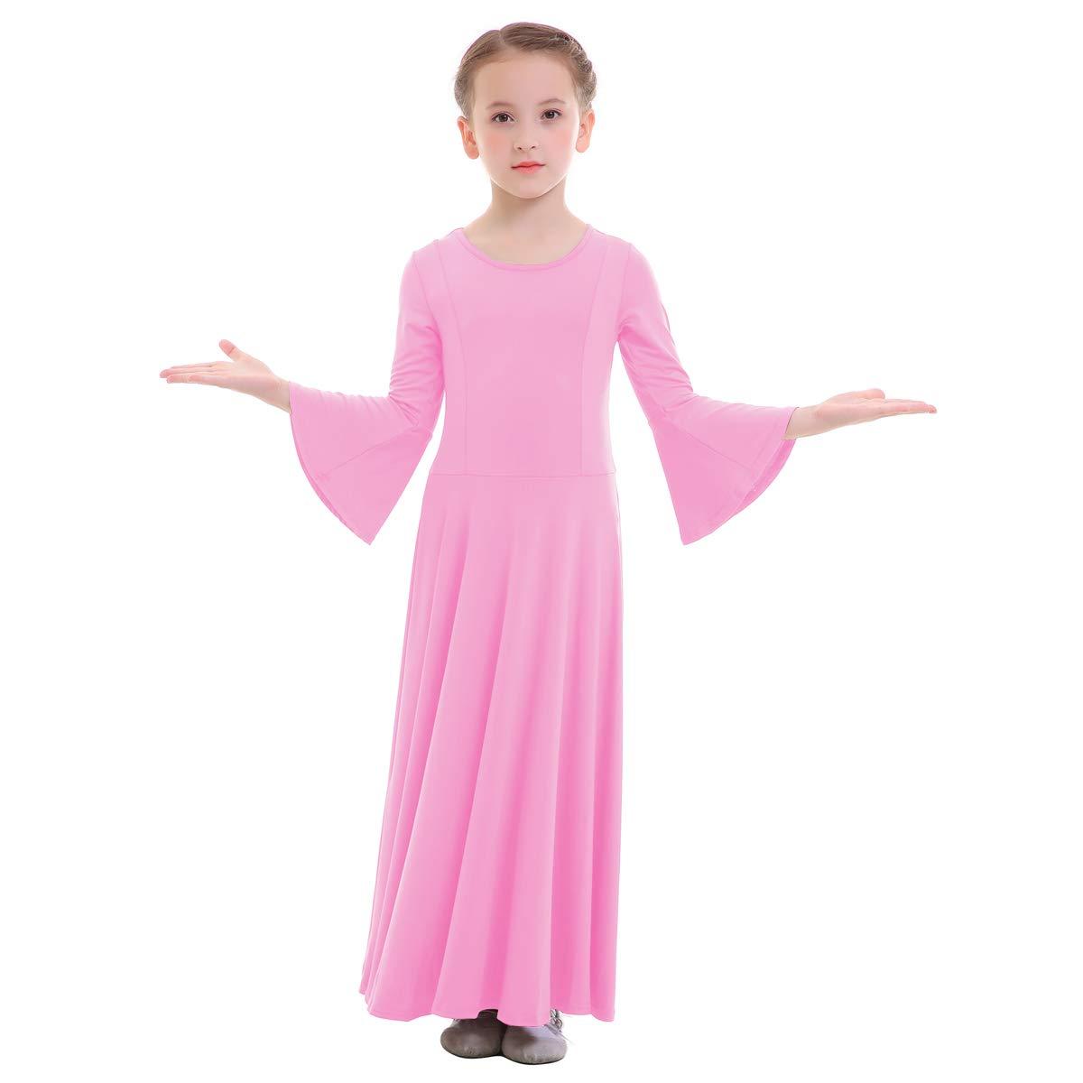 Kids Girls Liturgical Praise Lyrical Dance Bell Long Sleeve Dress Loose Fit Full Length Costume Praisewear