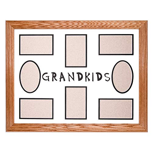 New 8-Opening 16x20 Grandkids Collage Picture Frame - Light Oak Ash Hardwood w/Mat for Family & Friends Photos, 2 Inch Wide Molding - Hand Made in USA by Northern