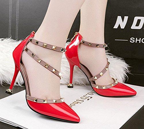 Spitze Aisun geschnittene hinten Reißverschluss für Zehenpumpe mit rot Trendy Frauen Nieten pOrqrXI