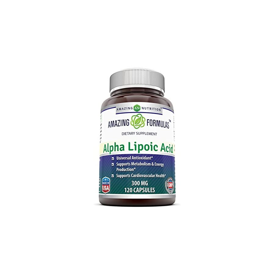 Amazing Formulas Alpha Lipoic Acid * 300mg 120 Capsules Per Bottle * Pure ALA Capsules Ideal Formulas Supplement for healthy weight management, Athletic Performance & More