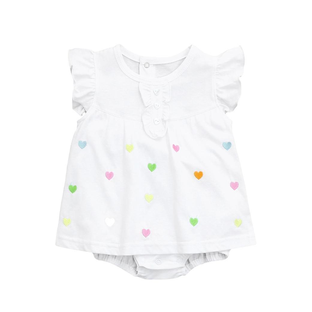 Abbigliamento Neonato, Dragon868 Bimba cotone bianco pagliaccetto con love colorati vestit Carino 2018 estivi