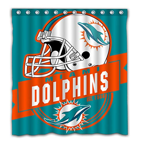 Felikey Custom Miami Dolphins Waterproof Shower Curtain Colorful Bathroom Decor Size 66x72 Inches