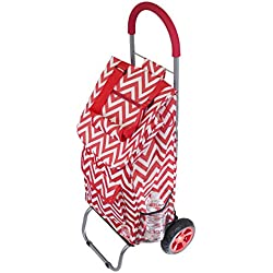 Trolley Dolly, Red Chevron Shopping Grocery Foldable Cart