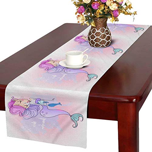 INTERESTPRINT Cute Cartoon Mermaid with Fish Smiling Glamour Beauty Table Runner Cotton Linen Home Decor for Home Kitchen Wedding Party Banquet Decoration 16 x 72 Inches ()
