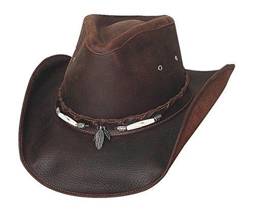Leather Cowboy Hat Hats - Bullhide Men's Briscoe Leather Cowboy Hat Chocolate X-Large