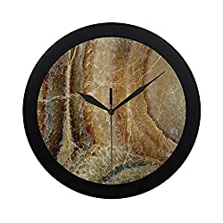 C COABALLA Marble Circular Plastic Wall Clock,Onyx Stone Surface Pattern Banded Variety Layered Differing Lines Image Decorative for Home,9.65 D