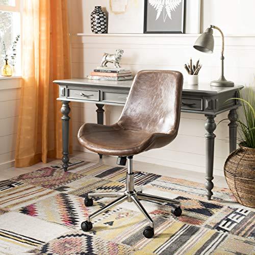 Safavieh OCH7501A Home Collection Fletcher Swivel Office Desk Chair, Brown/Chrome