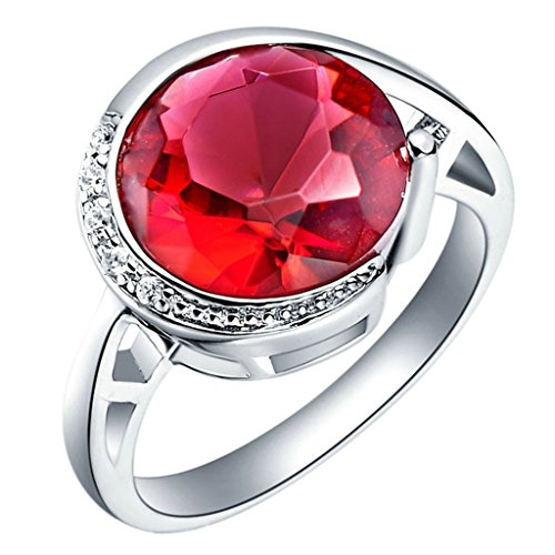 Verona Collection Pendant (KnBoB Jewelry 18K White Gold Plated Women's Rings CZ Crystal Red Round Lovely Ring Size 6)