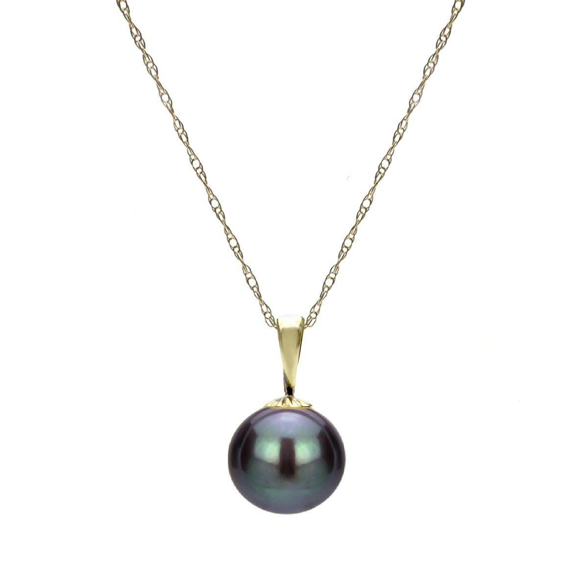 14K White Gold or Yellow Gold Dyed Black Freshwater Cultured Pearl Necklace Chain Pendant Jewelry