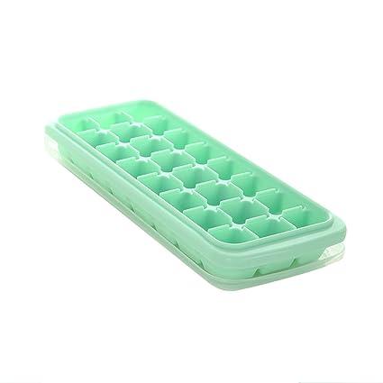 yiliay fácil liberación hielo cubo bandejas apilables congelador bandeja silicona cubo de hielo moldes con lids